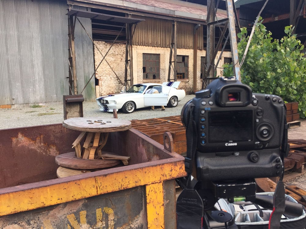 behind the scenes photo of vintage ford mustang
